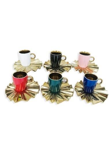 Sembol 6 Renk Yelpaze Tabaklı 6 Kişilik Türk Kahvesi Fincanı Renkli